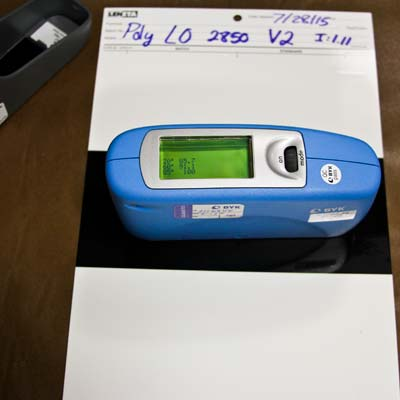 Gloss meter test at 20, 60, 85 degrees